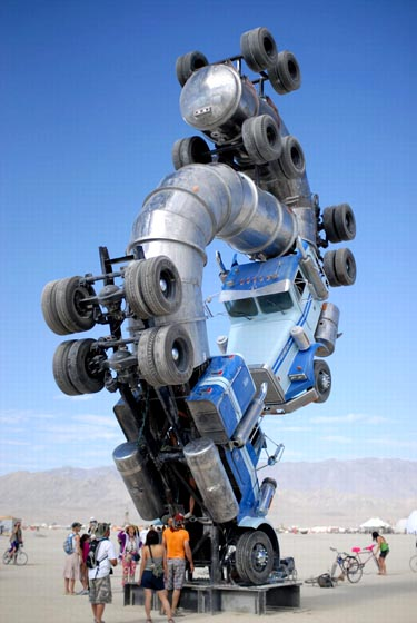 Two 18 Wheelers Sculpture at Burning Man