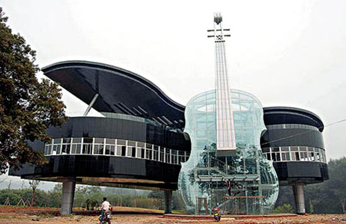 Giant Piano Building with Violin stairs