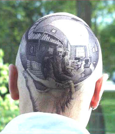 Tags: bald, body art, Escher, photo, reflection, tattoo