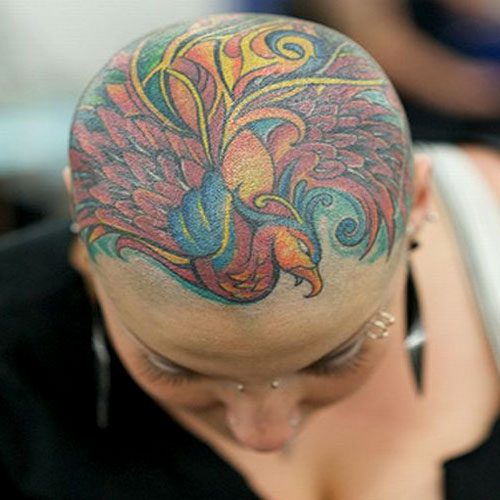 Bald Head Pheonix Tattoo