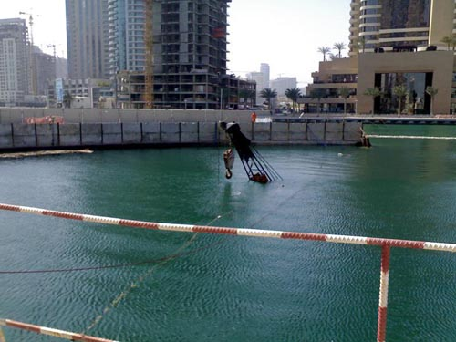 Flooded Dubai Construction Crane