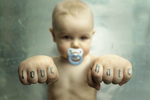 Tags: baby, cute, knuckles, love hate, photo, tattoo