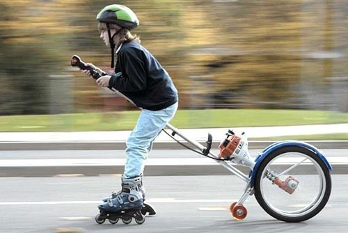 Roller Blades.. Outboard Motor.. Unicycle.. Check