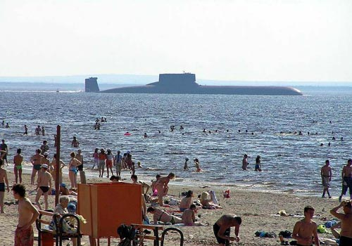 Russian Submarine at the Beach