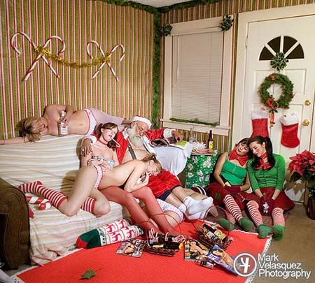 Santa Passed Out with Booze and Women