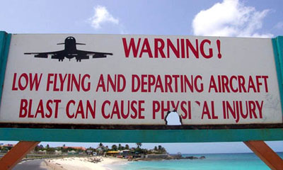 Low Flying Airplaines St Maarten Sign