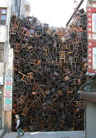 Doris Salcedo | Stacked Chairs | Istanbul Biennial