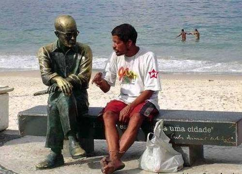 Having a Conversation With A Statue