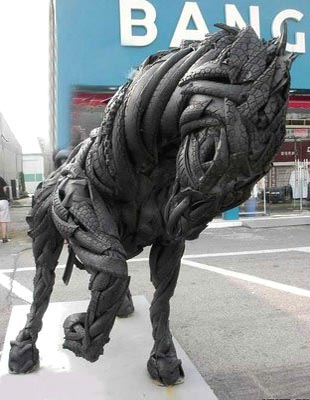 Tire Horse Sculpture