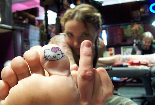 Hello Kitty Toe Tattoo