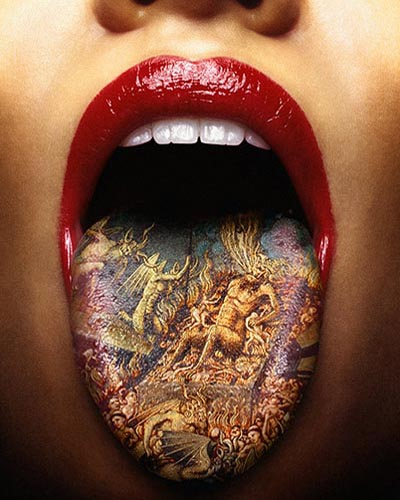 Tongue Tattoo desin to woman