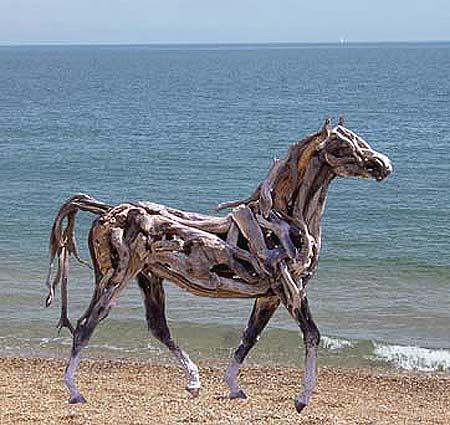 Life Size Driftwood Horse Sculpture