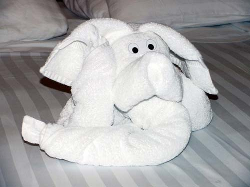 Elephant Towel Oragami Sculpture