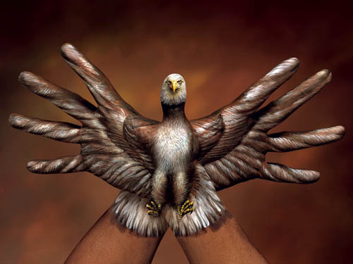 Eagle Painted On Hands By Guido Daniele Body Painting
