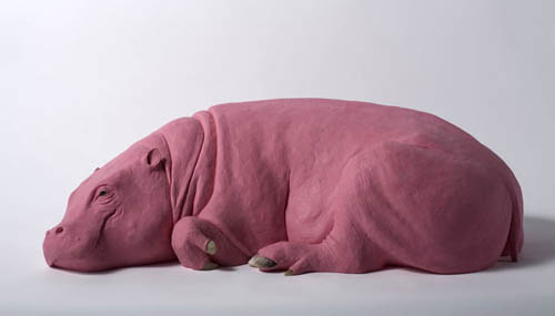 Pink Resin Hippopotamus Sculpture