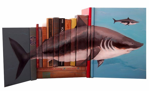 Shark Painting On The Spine Of Books