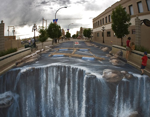 3D Chalk Art Waterfall