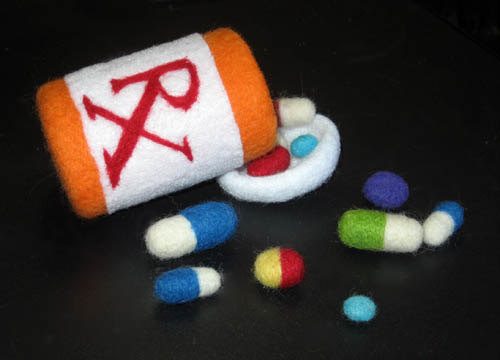 Felted Fiber Prescription Pills