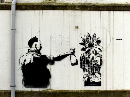 Flower Spray Stencil Graffiti by DOLK