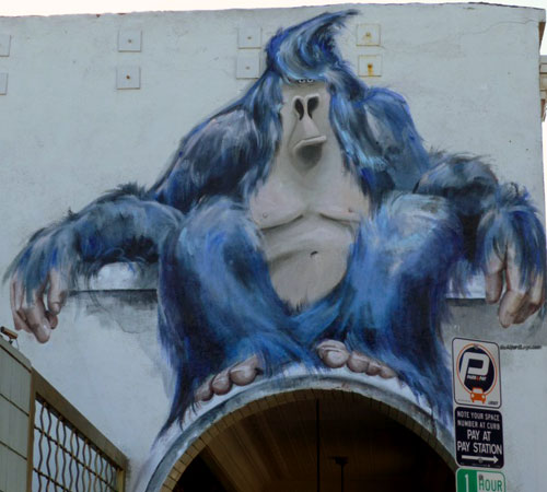 Huge Blue Gorilla Painted Arch Mural