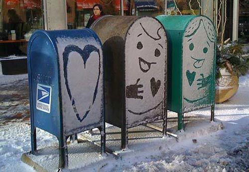 Snow Art on USPS Mailboxes