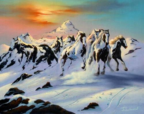 Optical Horse Mountain Painting