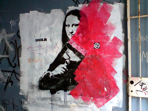 Mona Lisa Stencil Graffiti