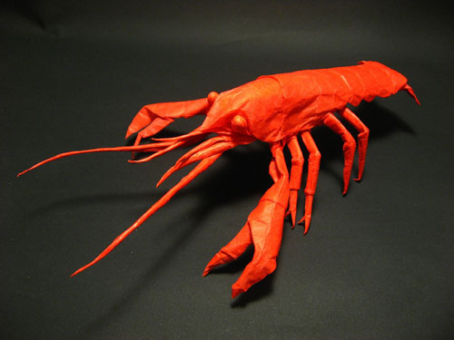 Orange Origami Crayfish