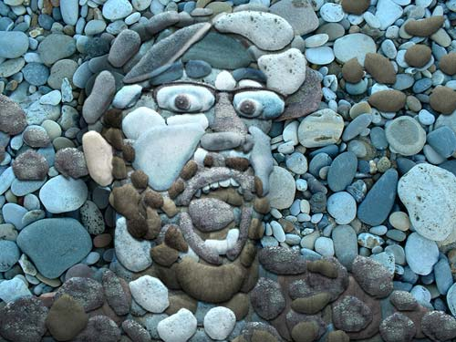 Portrait Made From Stones