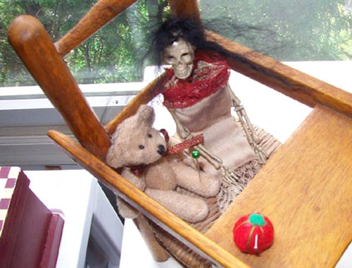 Skeleton Doll With Teddy Bear Assemblage