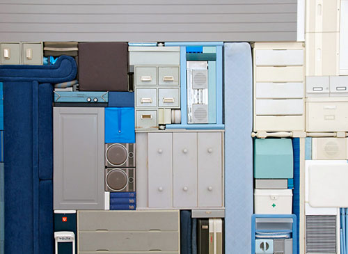 Stacked Furniture, Cabinets And Appliances Art Installation