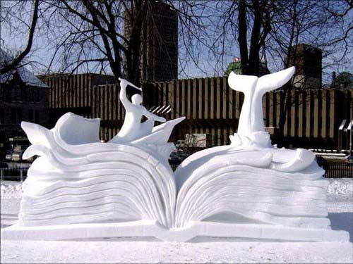 Moby Dick Story Book Snow Sculpture