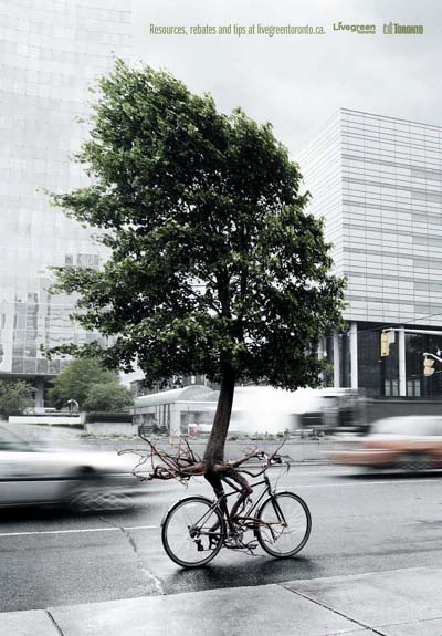 Tree Riding A Bicycle | Live Green Toronto Print Ad
