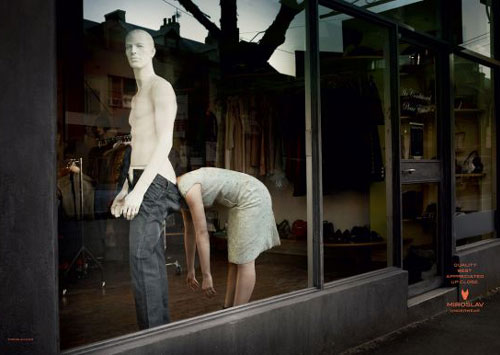 Underwear Shop Mannequins With Head In Pants