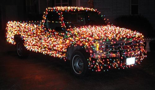 Christmas Lights on a Pick-Up Truck