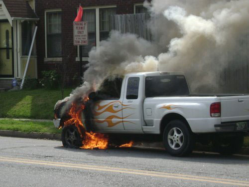Painted Flames Truck Fire