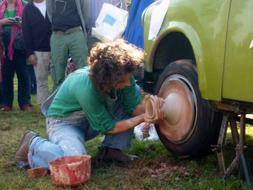 Pottery On A Car Wheel