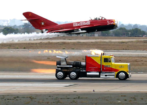 Jet Powered Semi Vs Red Bull Airplane