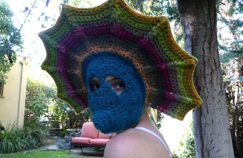 Crochet Knitted Peacock Hat