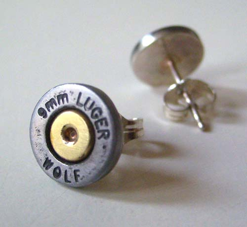 9mm Bullet Case Earrings
