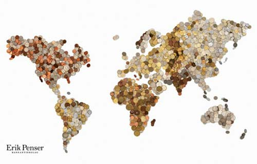 World Map Made With Coins From Each Country