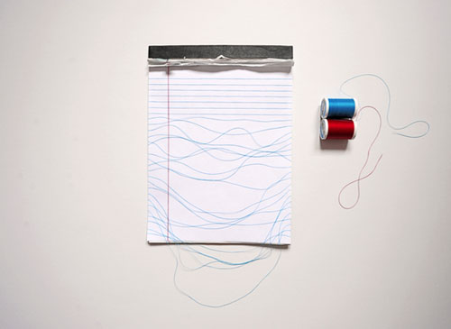 Red And Blue Thread Lined Paper