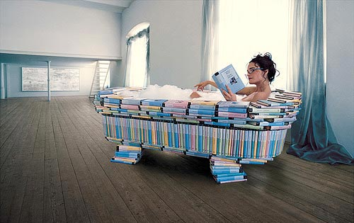 Bathtub Made From Books
