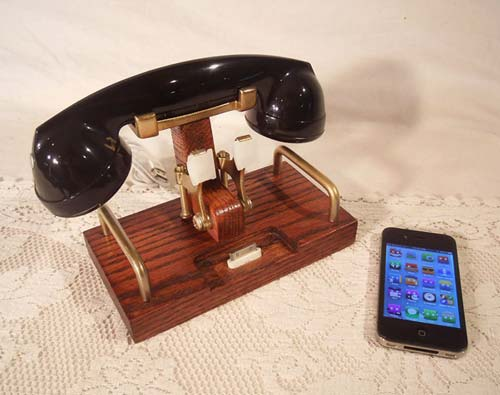 Wireless Vintage Rotary Phone Handset With Charger Docking Station