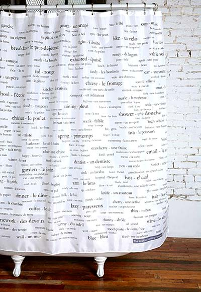 French Dictionary Shower Curtain