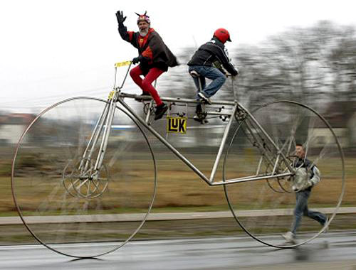 Huge Tandem Bicycle
