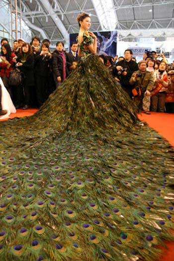 $1.5 Million Dollar Peacock Wedding Dress