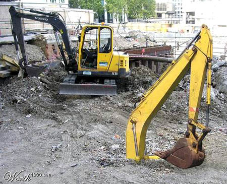 Photoshopped Buried Volvo Backhoe
