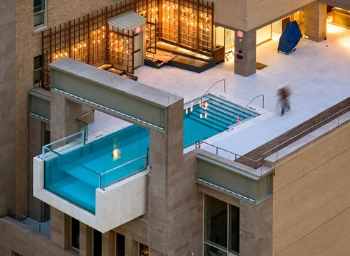 Over The Edge Swimming Pool | Hotel Joule, Dallas Texas