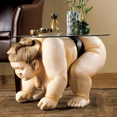 Crouching Sumo Wrestler Table